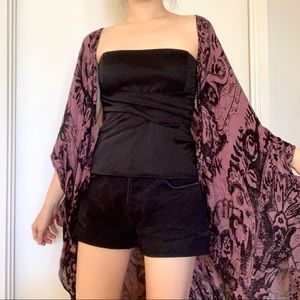 Free people one size purple black shawl kimono